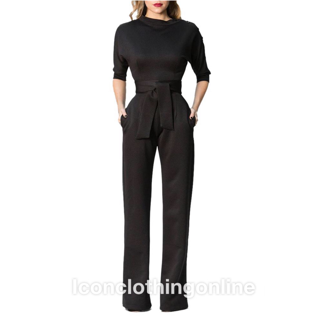 Black slanted one shoulder wide leg formal jumpsuit