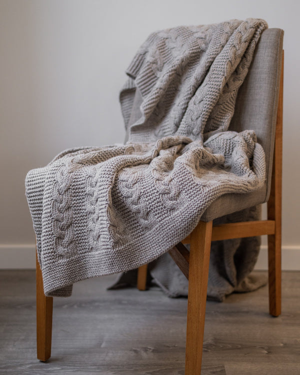 Alistair Organic Wool Knit Throw - YaYa & Co.