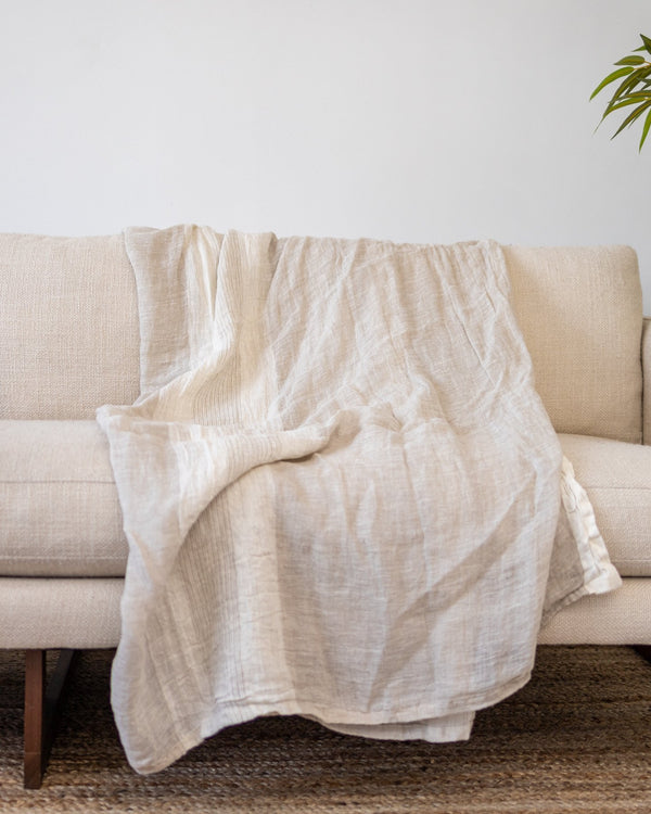 Breonna Organic Linen Throw - YaYa & Co.
