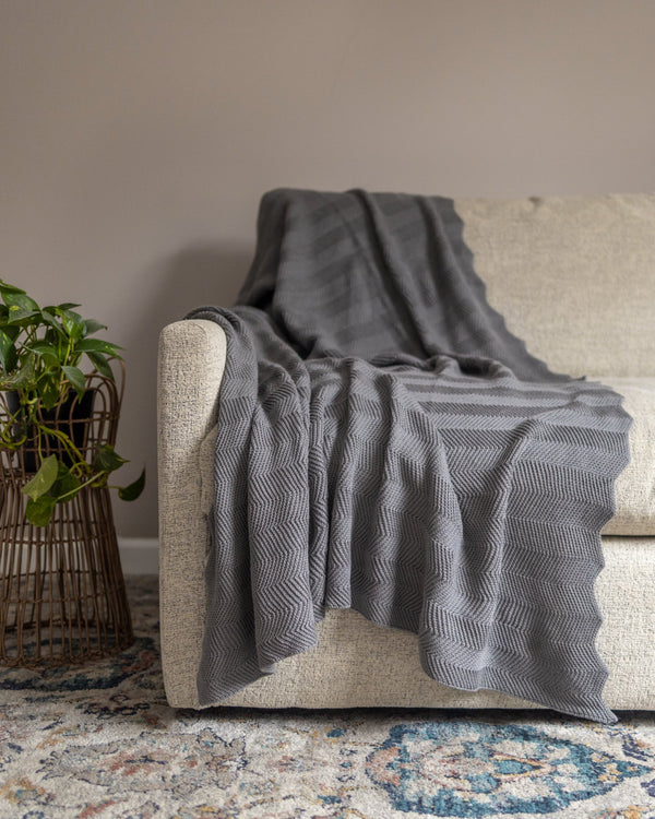 Bronx Organic Cotton Knit Throw - YaYa & Co.