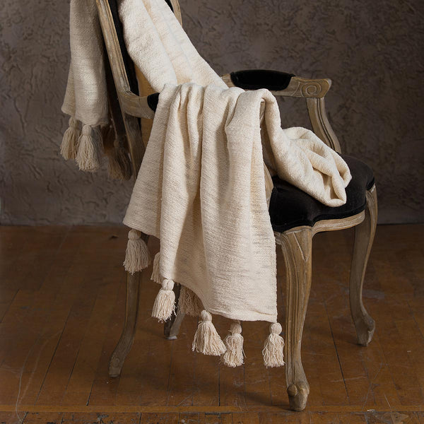 Chloe Organic Cotton Tassel Throw - YaYa & Co.
