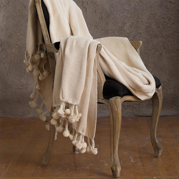 Claire Organic Cotton Pom Pom Throw - YaYa & Co.