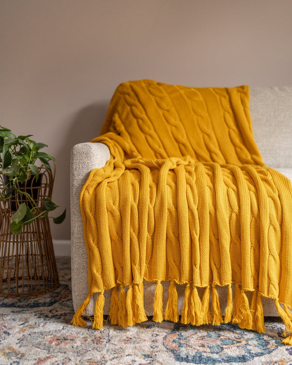 Hudson Organic Cotton Knit Throw - YaYa & Co.
