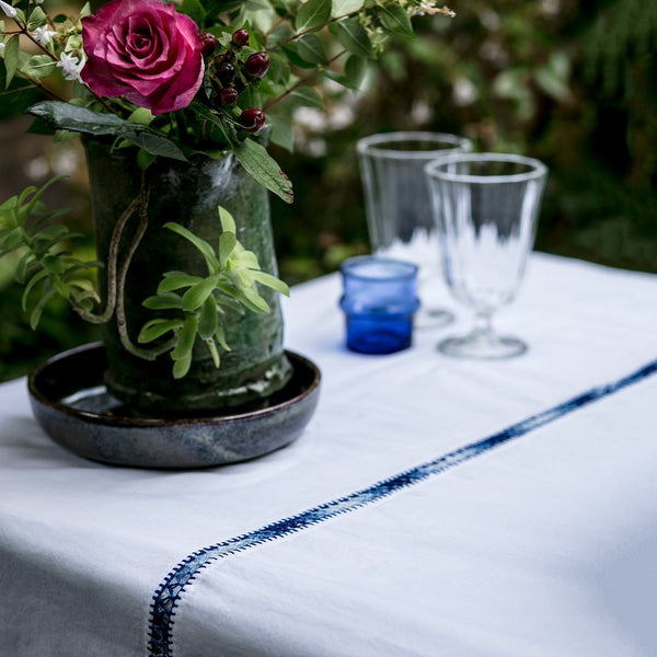 Kayla Organic Cotton Tablecloth with Embroidery Trim - YaYa & Co.