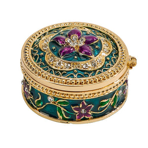 Trinket Box with Purple Flower