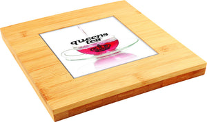 "Trivet, Bamboo - 7.25"" x 7.25"" with Personalized Center Tile"