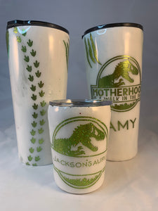 Dino Saurus Fatherhood Custom Travel Tumbler