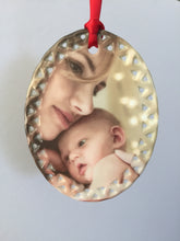 Load image into Gallery viewer, Ornament - Oval Ceramic with Doily Border - 1 Sided