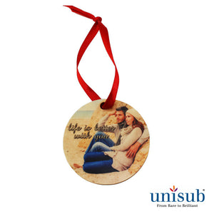 Ornament - Wood - Round Shape  w/Ribbon - 2 sided