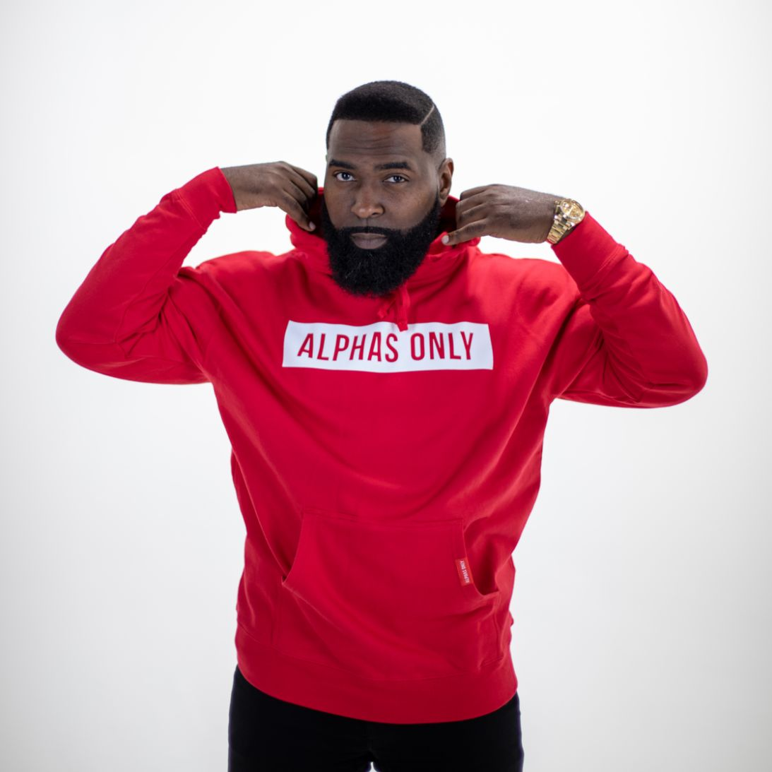 Reverse Out White Lettering Logo on Red Hoodie