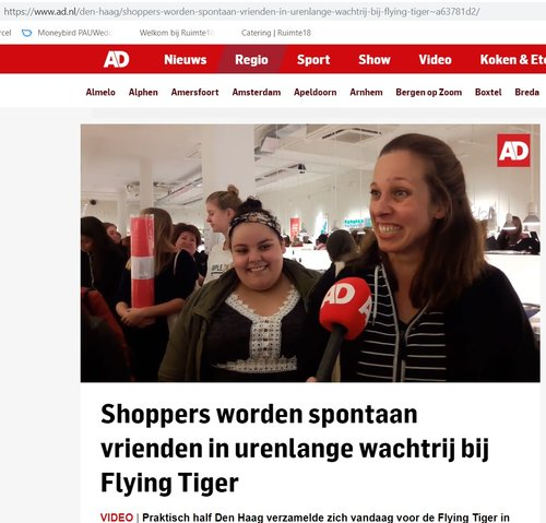 NEWSPAPER ALGEMEEN DAGBLAD INTERVIEWED ME WHEN VISITING THE FLYING TIGER ONE EURO SALE!
