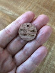 Little round wooden 'Handmade with love' tags