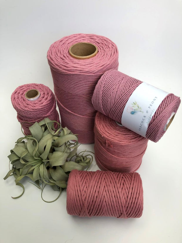 Primrose pink, 5 mm supersoft single twisted cotton stringrope - recycled cotton