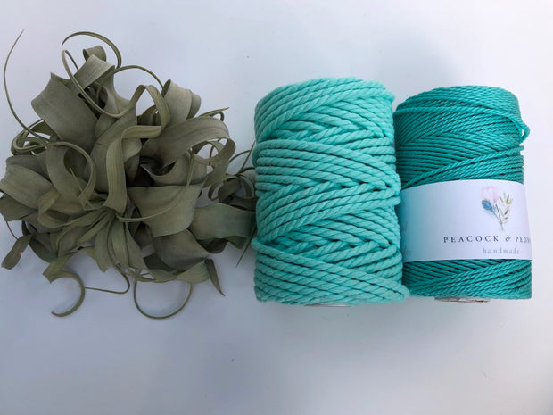Tiffany blue, 6mm, 3-ply twisted rope - recycled cotton