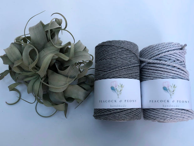 Grey, 2.5mm, 3-ply twisted rope - recycled cotton