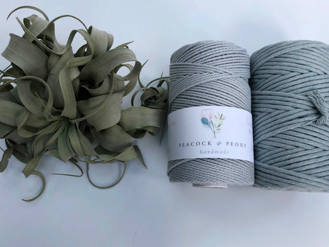 Powder blue, 2.5mm, 3-ply twisted rope - recycled cotton
