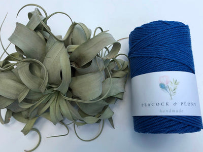 Royal blue, 2.5mm, 3-ply twisted rope - recycled cotton