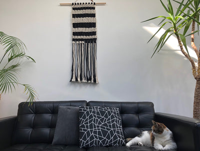 Handmade black & White macrame wallhanging