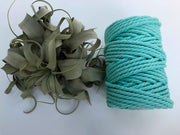 Mint-Aqua, 6mm, 3-ply twisted rope - recycled cotton