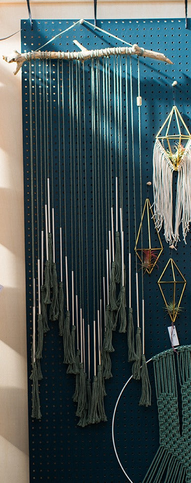 Sage green, long macrame wallhanging with metal tubes and rope tassels