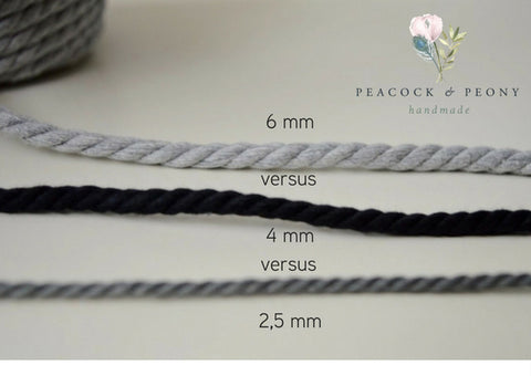Charcoal grey, 8mm, 3-ply twisted rope - recycled cotton