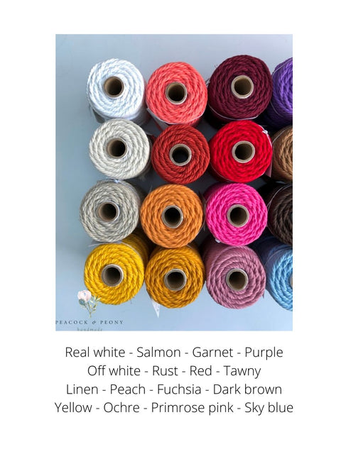 Off white, 6mm, 3-ply twisted rope - recycled cotton