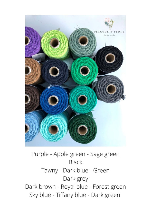 Dark Green, 6mm, 3-ply twisted rope - recycled cotton
