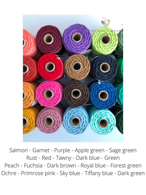 Salmon, 6mm, 3-ply twisted rope - recycled cotton
