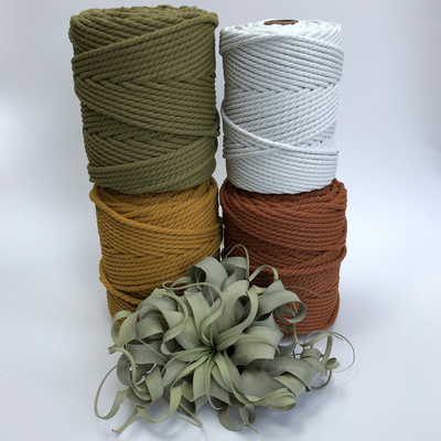 Bottle macrame rope! 6mm twisted 3 ply macramerope, 100m, 100% made of plastic bottles (terracotta, Olive, mustard & blanco (real white)