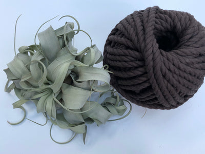 Dark brown, 8mm, 3-ply twisted rope - recycled cotton