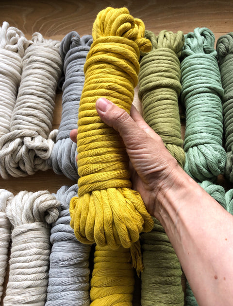 Olive, 8 mm, 130 plies supersoft single twisted cotton stringrope - recycled cotton