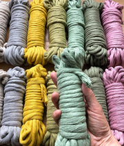 Grey 8 mm, 130 plies supersoft single twisted cotton stringrope - recycled cotton