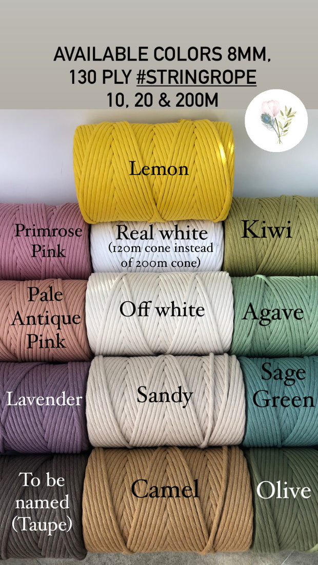 Sage green, 8 mm, 130 plies supersoft single twisted cotton stringrope - recycled cotton