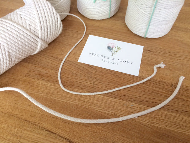 Braided Off White cotton rope in 2 and 3 mm