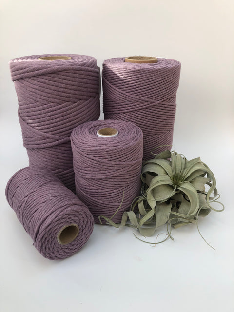 Lavender, 8 mm, 130 plies supersoft single twisted cotton stringrope - recycled cotton