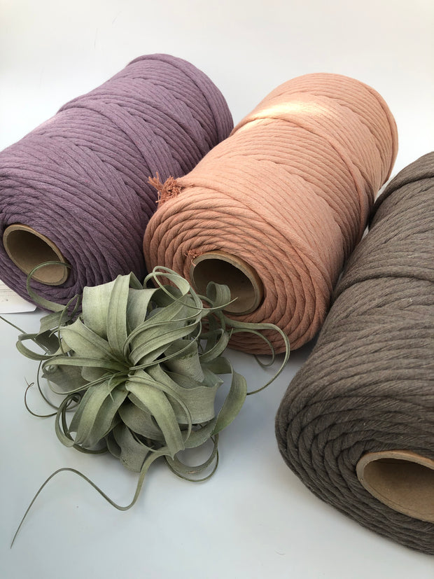Earthy Taupe, 8 mm, 130 plies supersoft single twisted cotton stringrope - recycled cotton