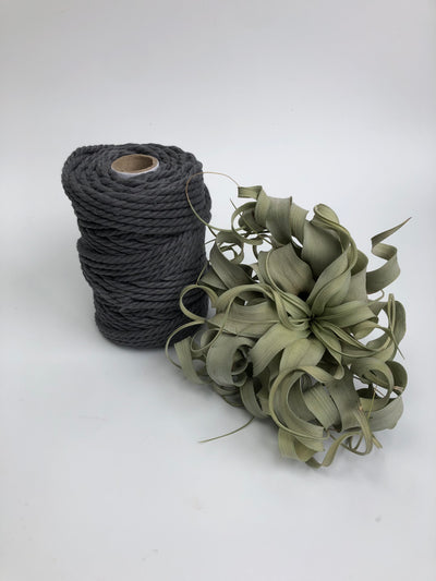 Iron Grey, 6mm, 3-ply twisted rope - recycled cotton