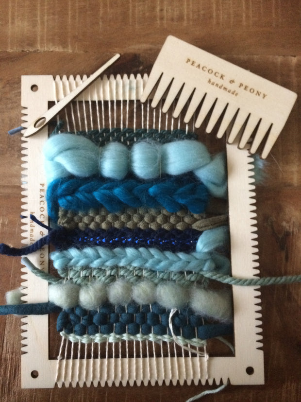 DIY Weaving package in 5 color with birch wooden materials (loom, etc.)