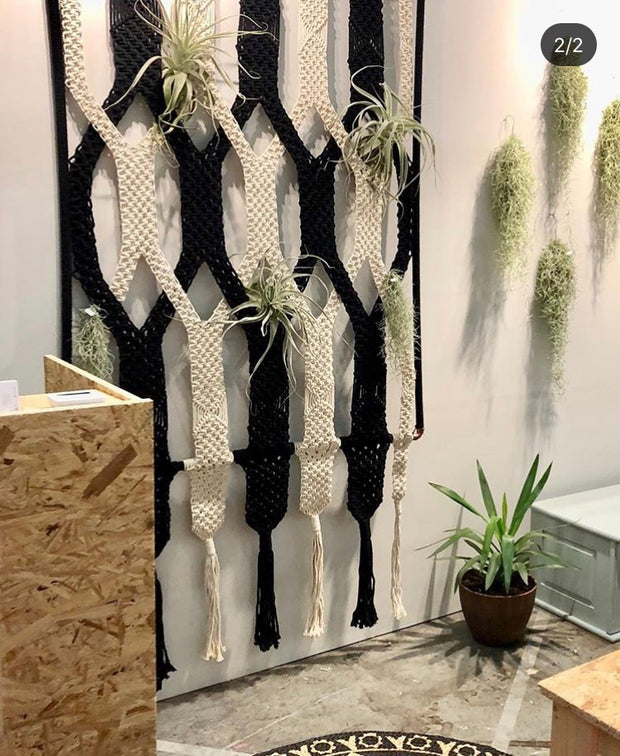 BIG macrame wallhanging/room divider/backdrop in black & off white with frame