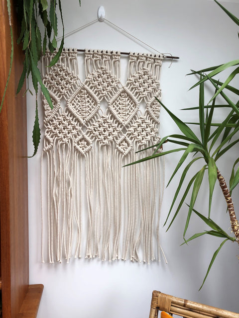 Large off white macrame wallhanging