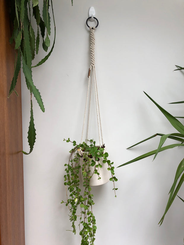Off white macrame planthanger WITH off white planter (pot)