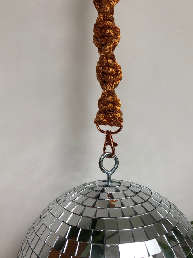 Disco / Glitter / Mirror ball in 4 sizes with macrame strap of your choice