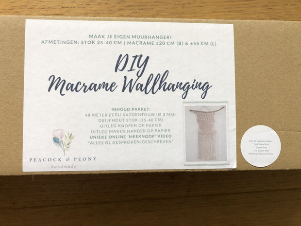DIY Macrame Wallhanging pakket (in Dutch)