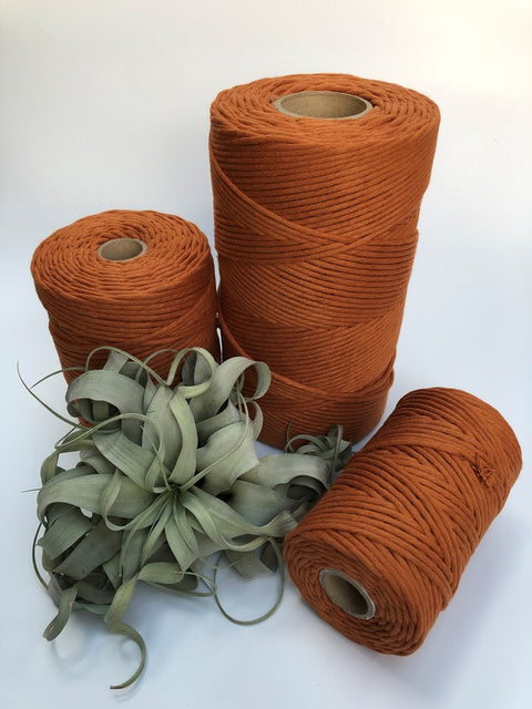 Copper, 5 mm supersoft single twisted cotton stringrope - recycled cotton