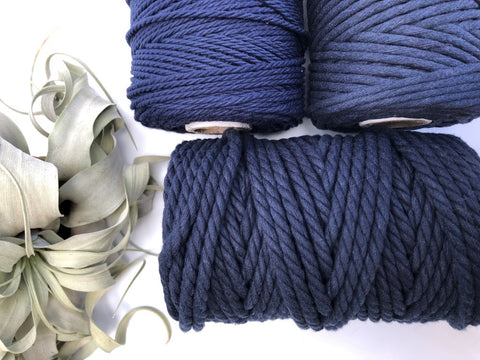 Dark blue, 6mm, 3-ply twisted rope - recycled cotton