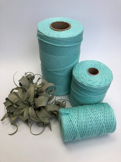 Tiffany blue, 5 mm supersoft single twisted cotton stringrope - recycled cotton