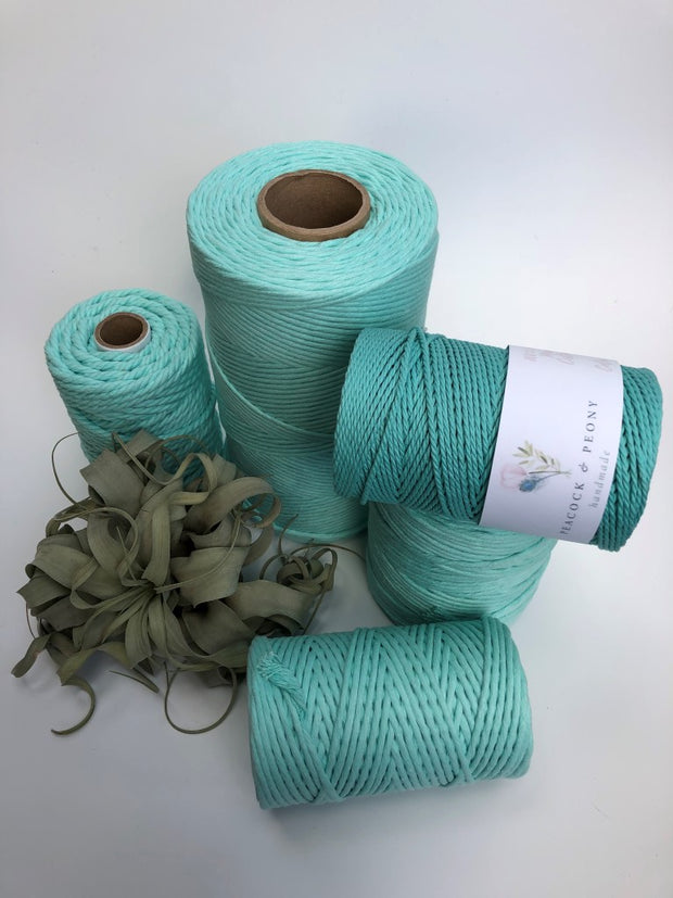 Mint Aqua, 6mm, 3-ply twisted rope - recycled cotton