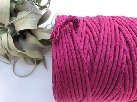 Hot pink, 5 mm supersoft single twisted cotton stringrope - recycled cotton