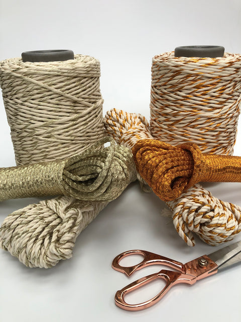 Metallic Twisted Rope Copper with Off White - 4mm, 30m per bundle