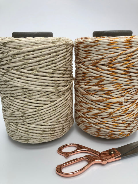 Metallic Stringrope GOLD with Off White - 5mm, 50 or 180m